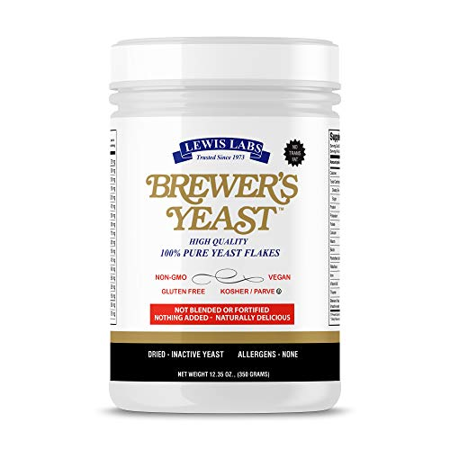 Lewis Labs Brewer's Yeast Flakes 12 oz: Rich Source of Amino Acids, B-Complex Vitamins, Minerals and Protein - Vegan, Keto Friendly, Paleo Friendly, Non-GMO, Gluten-Free, 100% Pure - Unsweetened