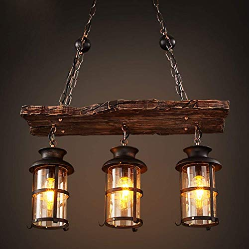 Vintage plafondlamp, hanglamp, hanglamp, industriële woody, metalen kooi, frame met lampenkap van glas, voor huis, loft, hal, woonkamer, bar, restaurants, café, club, decoratie