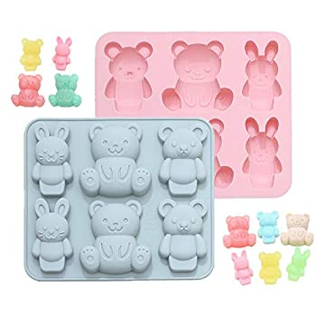Teddy Bear Silicone Molds Jello Molds for Kids Cute Cartoon Animal Chocolate Cake Baking Mold for Handmade DIY Soap Soft Candy Ice Cube Making Tools  2 pcs