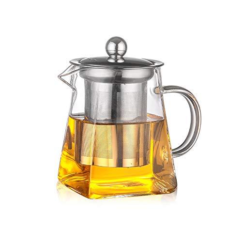 ZHJIUXING DQ potenciar Tetera, Tetera Cuadrada de Vidrio con infusor, Tetera de borosilicato para té Suelto, Tetera de Hojas Transparentes con colador para microondas y Caja Fuerte, 650ml