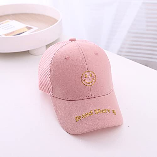 Children mesh Baseball Cap summer HipHop Smile-Pink-2 to 6 years old