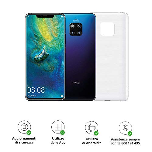 "Huawei Mate 20 Pro (Twilight) più Cover Originale, Telefono con 128 GB, Display Oled 6.39"" QHD+, Processore Octa Core dinamico con Intelligenza Artificiale"