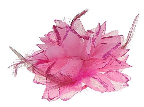 Große Feder Glitzer Haar Blume Fascinator Haar Krawatte Clip Fuchsia Pink