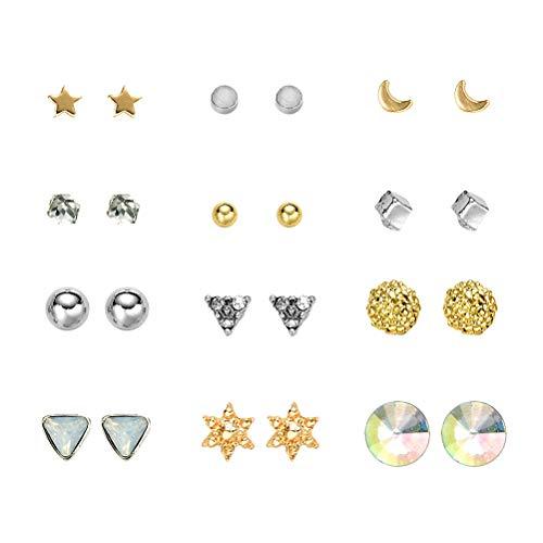 FENICAL Conjunto de aretes con Forma Redonda de Diamante de triángulo cúbico Conjunto de aretes para Mujeres, niñas 12 Pares