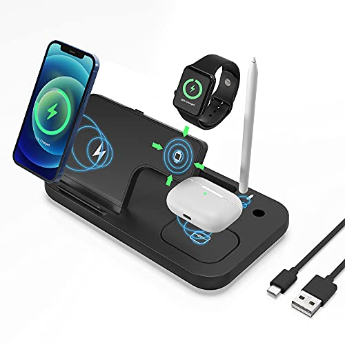 Cargador Inalámbrico Rápido,4 en 1 Inalámbrica Soportes Qi-Enabled de Carga para Apple Watch Airpods Pro Pencil iPhone 12/11 / 11pro / X/XS/XR/XS MAX / 8 Plus, Samsung Galaxy S20