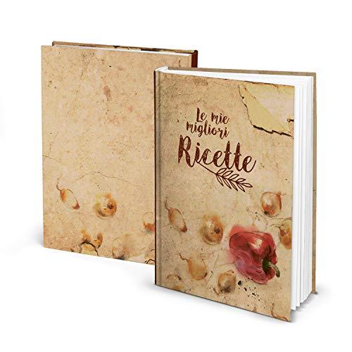 Logbuch-Verlag piccolo libro ricette ricettario A5 personalizzabile DIY vuoto vintage verdure copertina rigida regalo cucina
