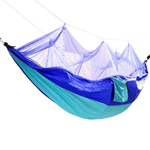 YYhkeby Viajes Hamaca Colgando Cama Columpio Paracaídas Nylon para Viajes de Campamento Mosquitera al Aire Libre Doble Hamaca para Senderismo al Aire Libre Jialele (Color : Sky Blue+Blue)