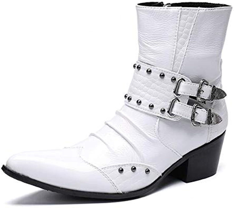 LOVDRAM LOVDRAM LOVDRAM Män läderskor Mode Genuine läder Rivets Män Ankle stövlar Formal Dress skor Point Toe Metal Toes Cowboy stövlar  stora rabattpriser