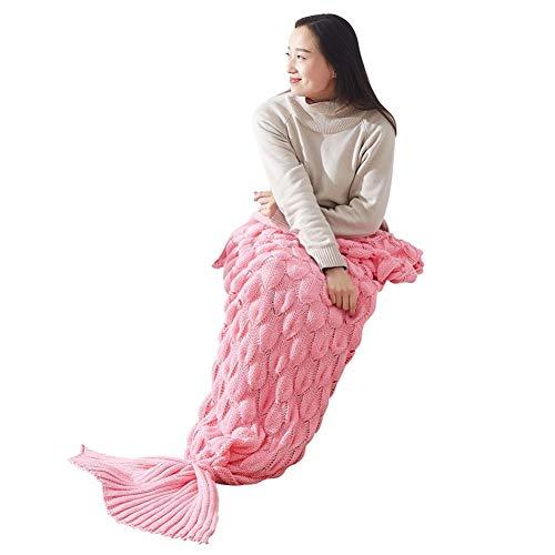 Yalatan Große Meerjungfrau Schwanz Decke und Meerjungfrau Schwanz Decke Wohnzimmer Schlafsack für Kinder Erwachsene häkeln dicke Decke
