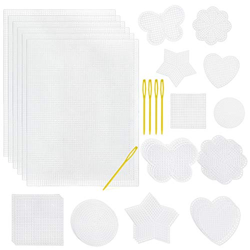 Pllieay 36 Pieces Mesh Plastic Canvas Sheets Kit Including 30 Pieces 6 Shapes 3 Inch Plastic Canvas and 6 Pieces Rectangular Plastic Canvas, Embroidery Tools for Embroidery Plastic Canvas Craft