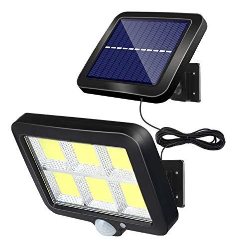 Solarlampen für Außen mit Bewegungsmelder, 120 LED Solarleuchten 3 Modi Superhelle Solar Wandleuchte, Wasserdichte LED Solarleuchte mit 120° Weitwinkel Beleuchtung, Solar Strahler mit 16.5ft Kabel