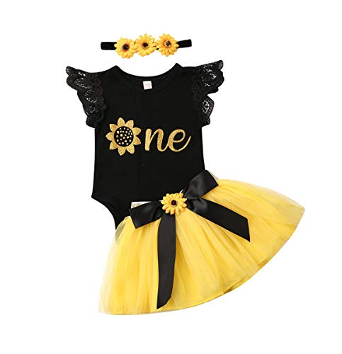 Newborn Girls 1st Birthday Outfit Ruffled Floral One Romper Yellow Tutu Skirt Dress First Birthday Girl Outfit (Black+Yellow, 12-18Months)