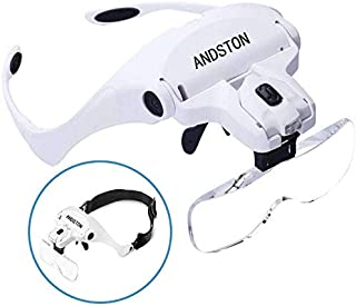 ANDSTON Head Mount Magnifying Glass with 2 Led Professional Jewelry Loupe Light Bracket and Headband are Interchangeable