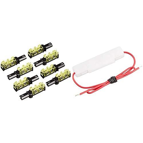エーモン 接続コネクター 4セット(8個入) 2824 & ミニ管ヒューズホルダー DC12V・30W/DC24V・60W 2.5A(MAX) 2845【セット買い】