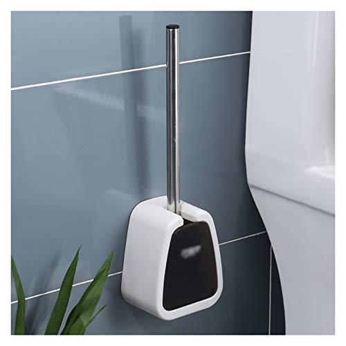 Juego de Portaescobillas Cepillo de baño Conjunto Herramienta de limpieza para el hogar Montado en la pared Cepillo de la tazón de la pared con el interruptor automático de apertura y cierre (sin golp