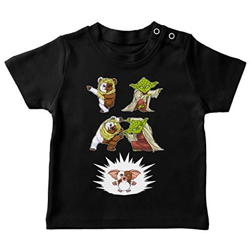T-Shirt bébé Noir Parodie Star Wars - Gremlins - Yoda, Un Ewok et Gizmo - Fusion !! YAHA !! (T-Shirt de qualité Premium de Taille 24 Mois - imprimé en France)