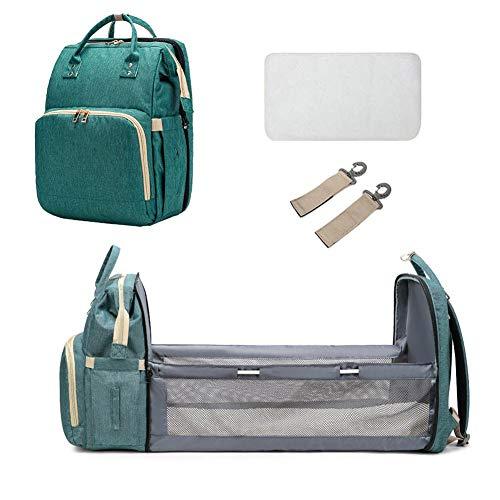 longrep Mochila cambiador para bebé, bolsa de pañales para bebé, mochila convertible para viajes, mochila y cuna 2 en 1, adecuada para viajes