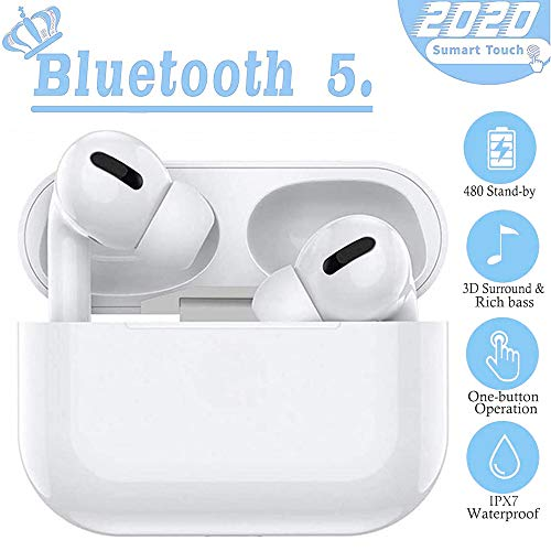 Cuffie Bluetooth Pro 5.0, cuffie wireless sportive IPX7 impermeabili, riduzione del rumore stereo 3D HD, adatte per Apple AirPods Pro/Android/iPhone
