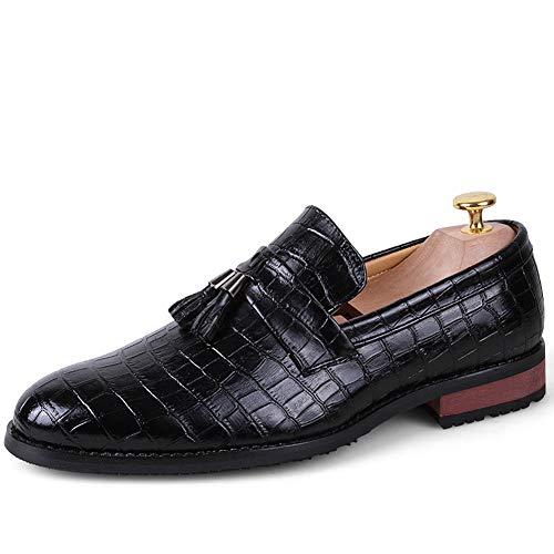 TAZAN Brock England Schuhe mit Fransen für Männer gleitende Spitze Flut Schuhe Retro-Kleid Mode lässig faul Schuhe Sommer Neue atmungsaktive Abnutzung Größe 38-47,Black,41