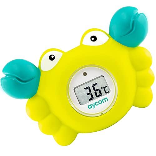 Aycorn Termómetro digital para baño y habitación para bebés con alarma de advertencia LED para bebé-niños