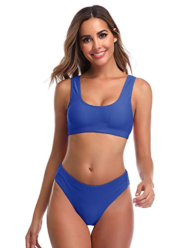 Summer Mae Damen Bikini Set Bustier Oberteil Zweiteile Sportliche Bademode Blau S