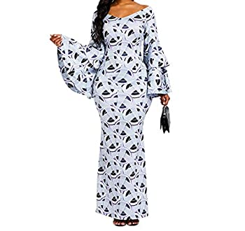 VERWIN Bodycon Dress for Women Ruffle Long Sleeve Print Maxi Dress Wrap Party Dress Long Dress L