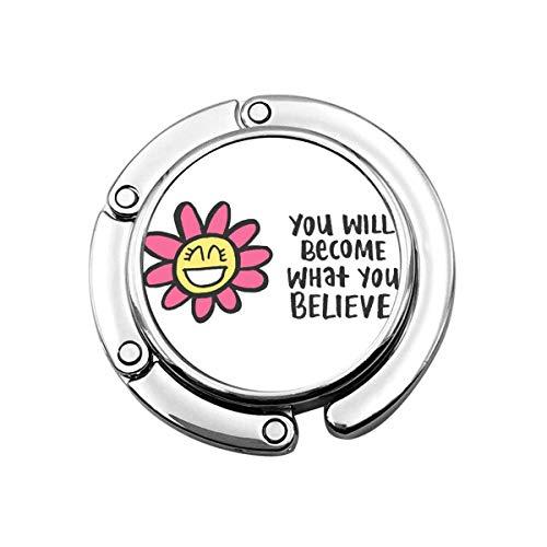 Netter Faltbarer Geldbeutel-Aufhänger für Tabelle, Geldbeutel-Haken abstrakte Bestätigung glückliches Leben-Zitat-positiver Cupcake