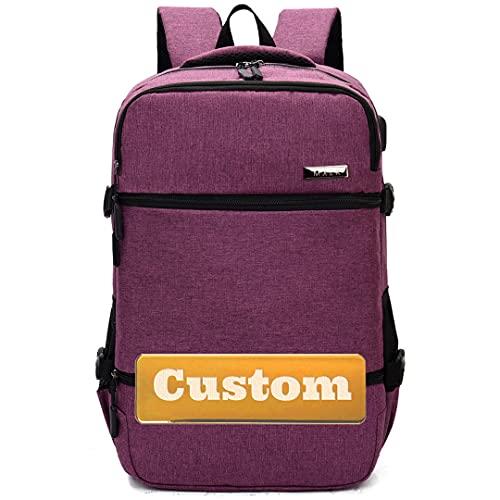 Mochila Personalizada para portátiles para Mujeres de 15.6 Pulgadas Puerto USB Trabajo portátil Organizador (Color : Purple, Size : One Size)