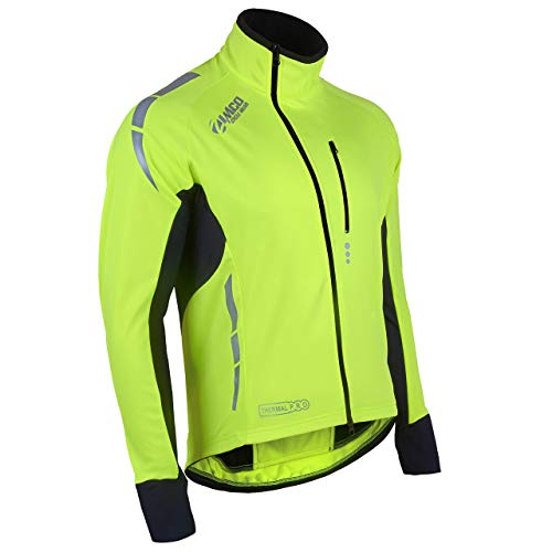 Zimco Pro Men Winter Cycling Jackets High Viz Bicycle Jersey Windproof Thermal Insulated Jacket (Medium, Neon Green)