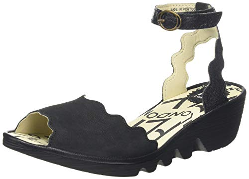 Fly London Women's PINE192FLY Ankle Strap Sandals, Black Black 000, 10.5