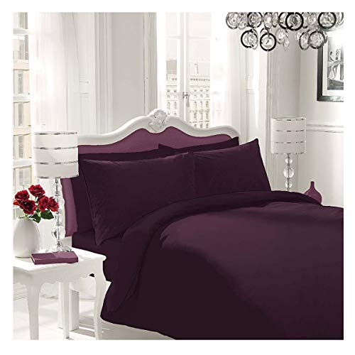 WOT NON IRON Parcale Plain Dyed Duvet Cover & 2 Pillow Cases Bed Set (Berry, Double)