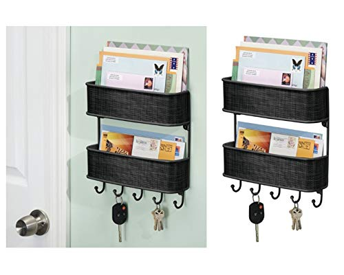 InterDesign Twillo Wandorganizer, für Post und Schlüssel, doppelte Briefablage und Schlüsselbrett mit 5 Haken aus Metall und Kunststoff, schwarz