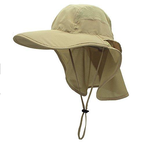 gg st Sonnenhut Herren Damen UPF 50+ Outdoor UV Summer Cap mit Nackenschutz Hiking Fischerhut Strand Faltbar Safari Buschhüte Mesh Hat, Khaki