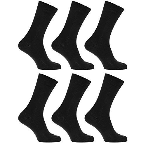 Textiles Universels Chaussettes 100% coton (lot de 6 paires) - Homme (39-45 EUR) (Noir)