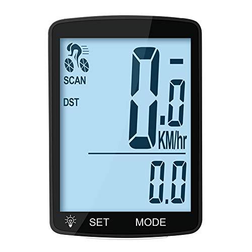 MACUNIN - Velocímetro para Bicicleta con Pantalla LCD Grande de 3 Pulgadas y retroiluminación, luz Trasera-Blanco