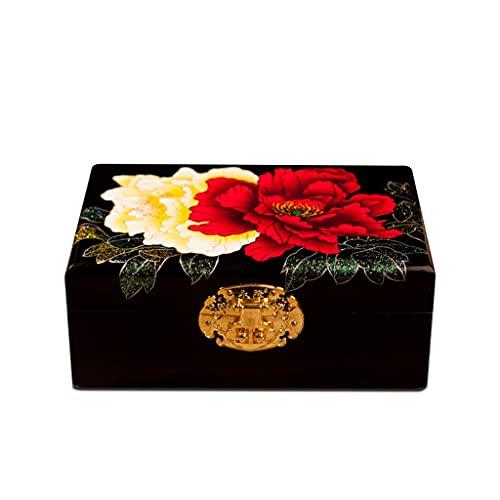 GFDFD Almacenamiento de Joyas Estilo Chino Antiguo Caja de tocador de Madera Vintage Hogar Boda Caja de joyería pequeña Caja de Almacenamiento de Adornos con Cerradura