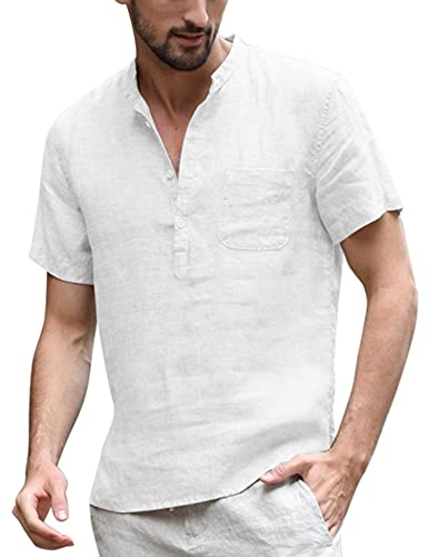 COOFANDY Men's Cotton Linen Henley Shirt Short Sleeve Hippie Casual Beach T Shirts with Pocket