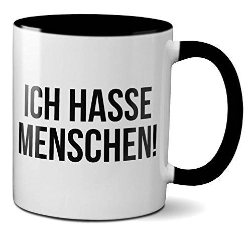 PAPAYANA - 1016 - ICH-Hasse-Menschen - Beidseitig Bedruckte Tasse 325ml 11oz - Große Farbauswahl - Schwarz