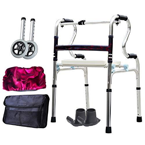 Oudere loophulp, opvouwbare rollator, hoog verstelbaar, draagbaar, antislip, geschikt voor ouderen en gehandicapten, kussens + 2 wielen, lichtgewicht aluminiumlegering. Met pulley.
