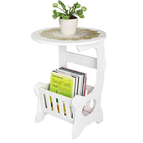 JCNFA BIJZETTAFEL Witte Ronde Sofa Bijzettafel, PVC-microschuimplaat, Waterdicht Snijwerk, DIY-montage, 2 Maten (Color : White, Size : 14.17 * 14.17 * 18.50in)