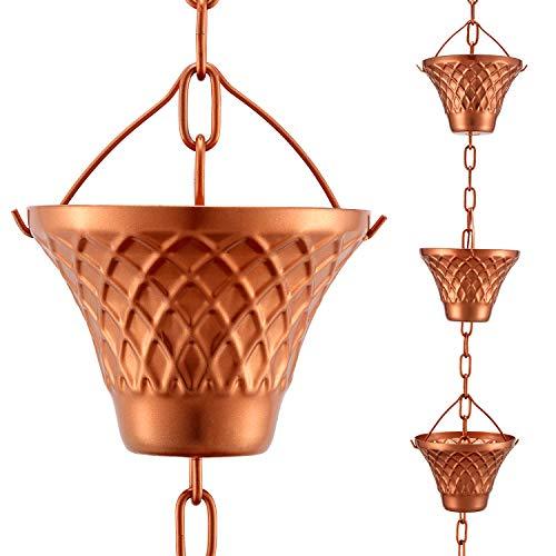 Eichenblatt-Regenketten-Set, 2,4 m, Kupfer-Regenkette für Dachrinnen mit Adapter, Gitter-Regenketten-Becher zum Ersetzen von Regenrinnen, Wasser- und Heimdekoration, 12 Tassen, verstellbar, Rotgold