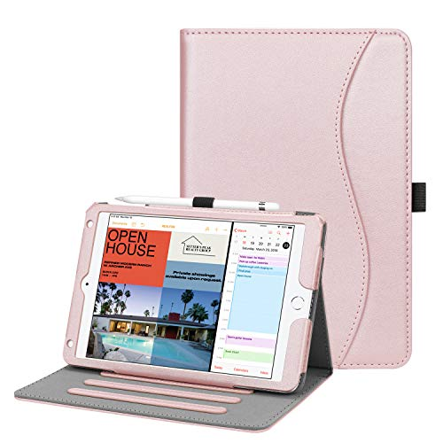 FINTIE Case for iPad mini 5 2019 / iPad mini 4 - [Corner Protection] Multi-Angle Viewing Smart Folio Cover w/Pocket, Pencil Holder, Auto Wake/Sleep, Rose Gold