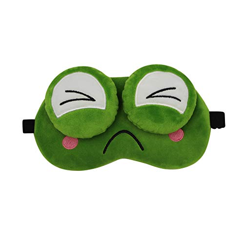 Funny Green Frog Soft Plush Sleep Mask, Adjustable Blindfold Eye Mask Cover for Men Women Kids Travel Nap Sleeping