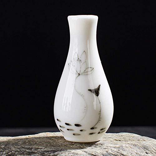 JJDSN Estatua Adornos Esculturas Florero de cermica Guanyin Botella de Agua Arreglo Floral Decoracin de Porcelana Adornos Chinos Botella Pintada a Mano