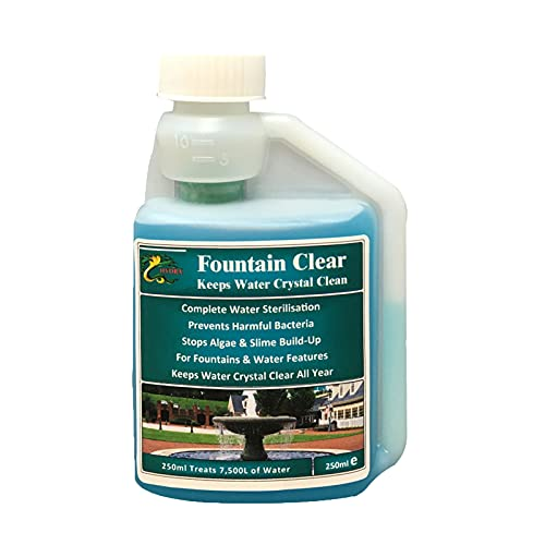 HYDRA Fountain Clear – Best Water Feature Cleaning Fountain Cleaner Treatment Keeps Water Crystal Clear from Algae, Green Water, Biofilm Build-up 250ml Treats 7,500L Highest Dilution Rates
