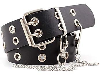 Punk Rock PU Leather Belt Double Grommet Novelty With Chain Women