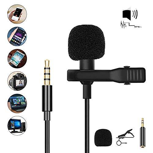 Lavalier Mikrofon, JanTeelGO Professional Kleines 3,5-mm Revers Rundstrahl Kondensatormikrofon für Smartphone, PC, Computer und Kamera (Schwarz)