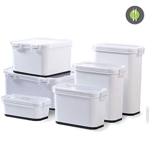 YJHH Contenedores de Almacenamiento de Alimentos, Contenedores de Alimentos Plastico, Fiambrera para Mantener la Comida Fresh, Sin Bpa, Set de 6,Blanco