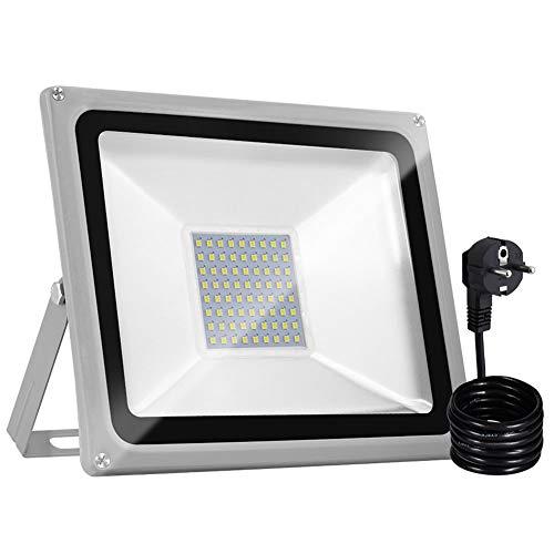 Bellanny 50W Focos LED Exteriores con Enchufe, Proyector LED Blanco Frío IP65 Impermeable 5000LM 6500K para Iluminación de Seguridad, Jardín, Garaje, Patio
