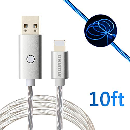 momen iPhone Charging Cord 10ft, LED iPhone Charging Cable Compatible iPhone 11/X/8/8 Plus/7 Plus/7/6s/6/iPad/iPod, Visible Flowing LED Charging Cable with Switch Button (Blue Light)